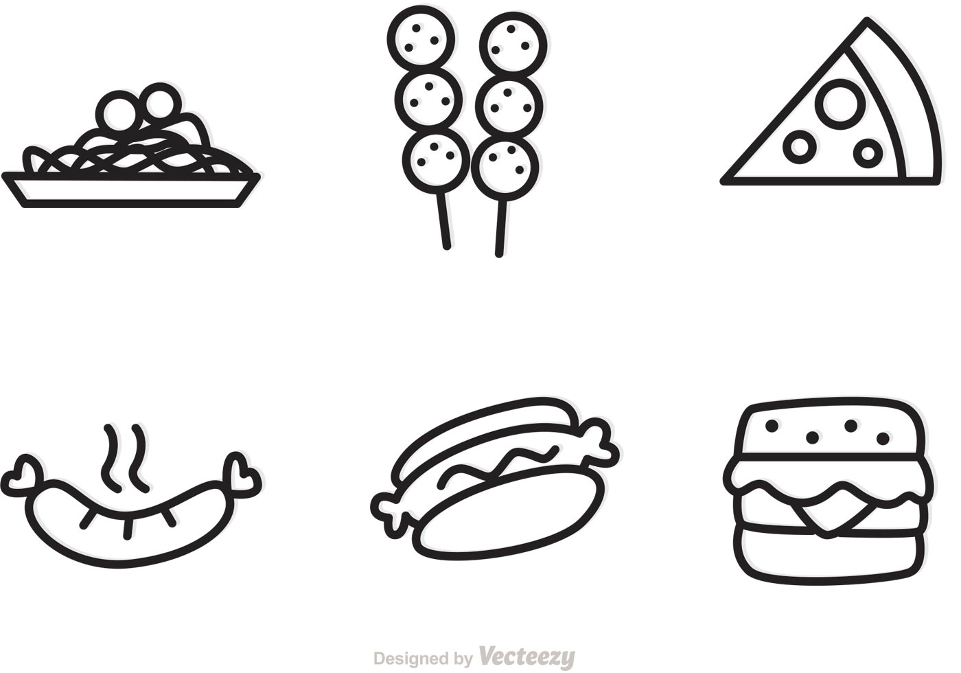 Outlined Food Icons Vectors