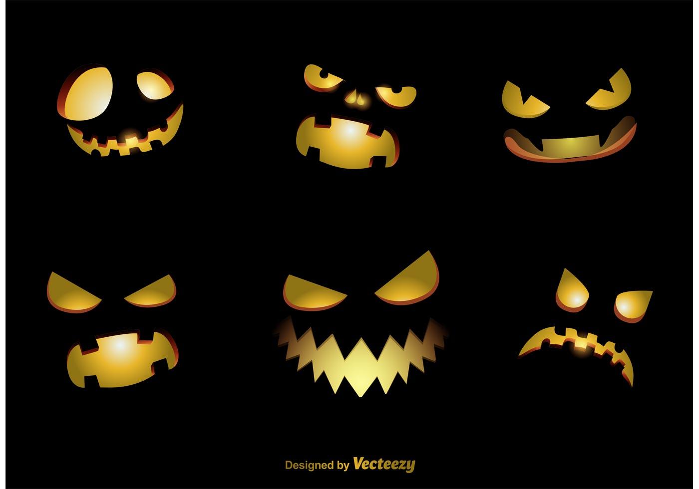 Spooky Jack O Lantern Vector Faces