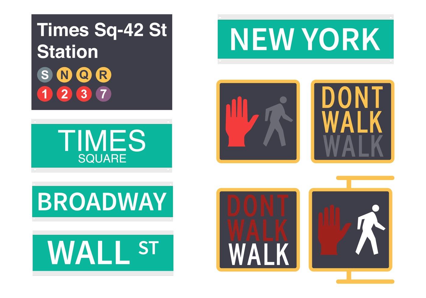 Free New York Street Signs Vector