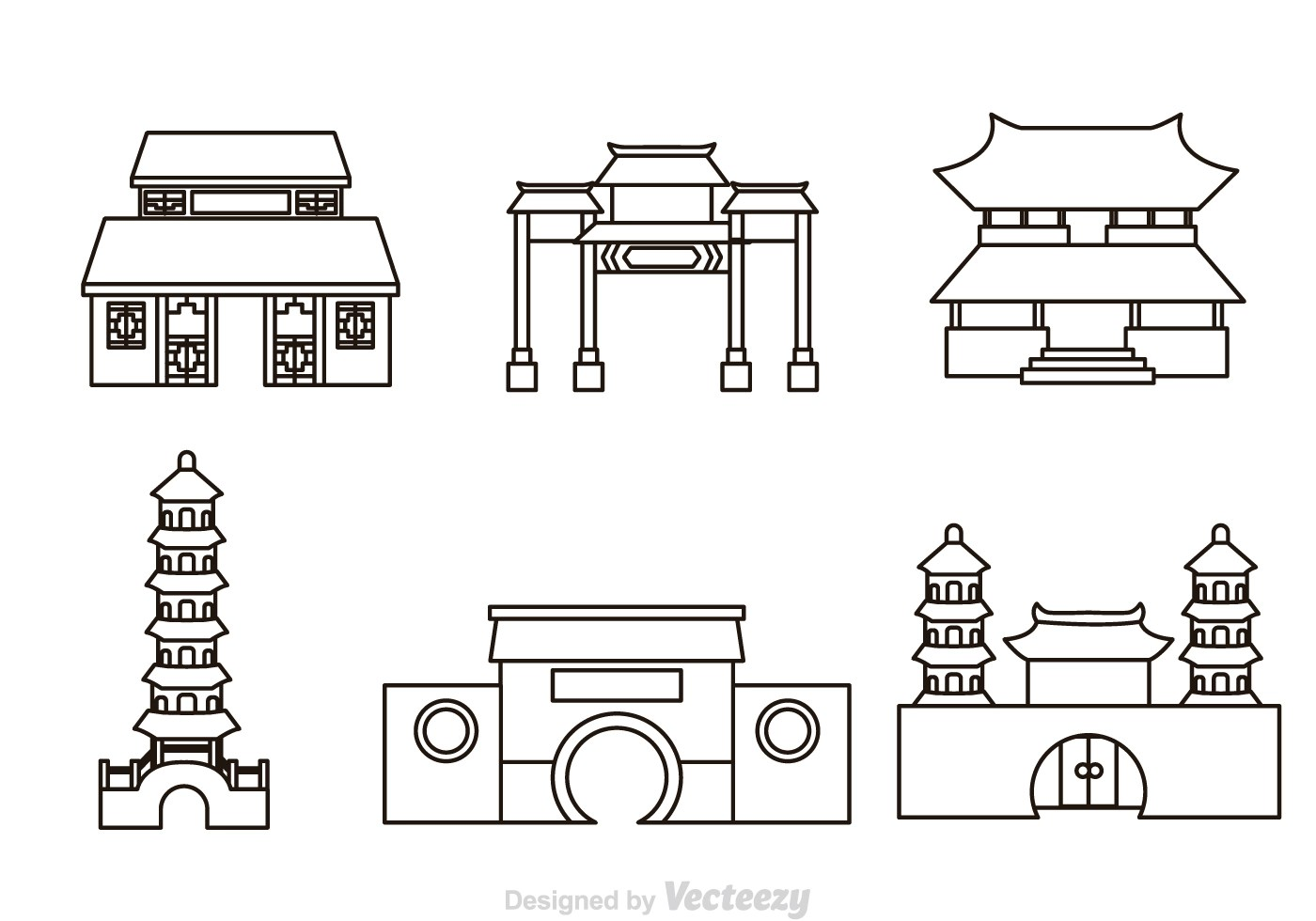Chinese Temple Outline Icons