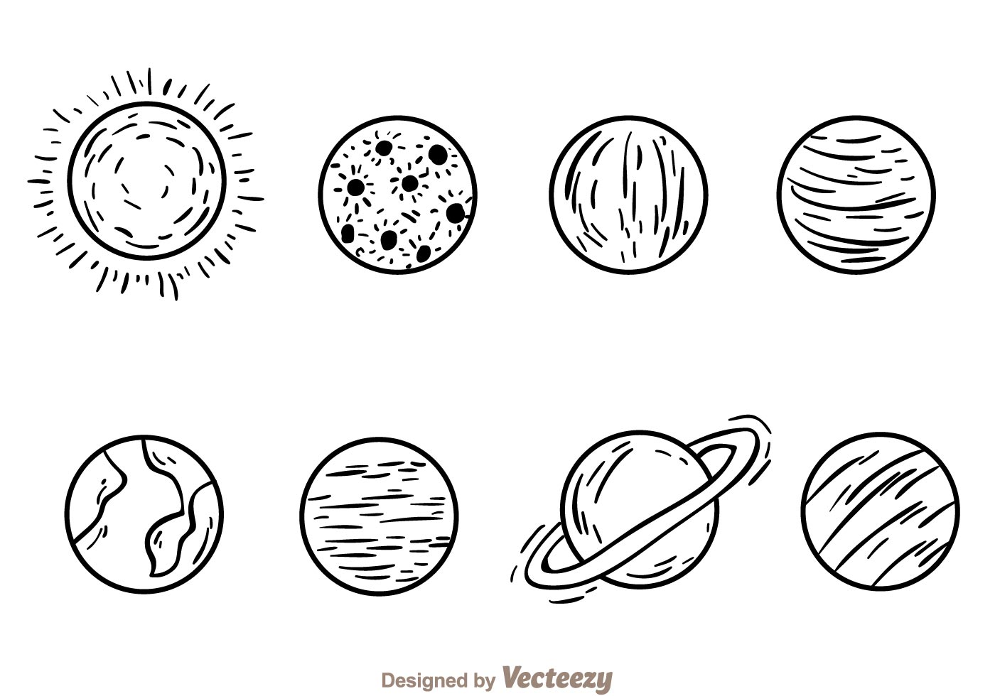 Planets Hand Drawn Icons