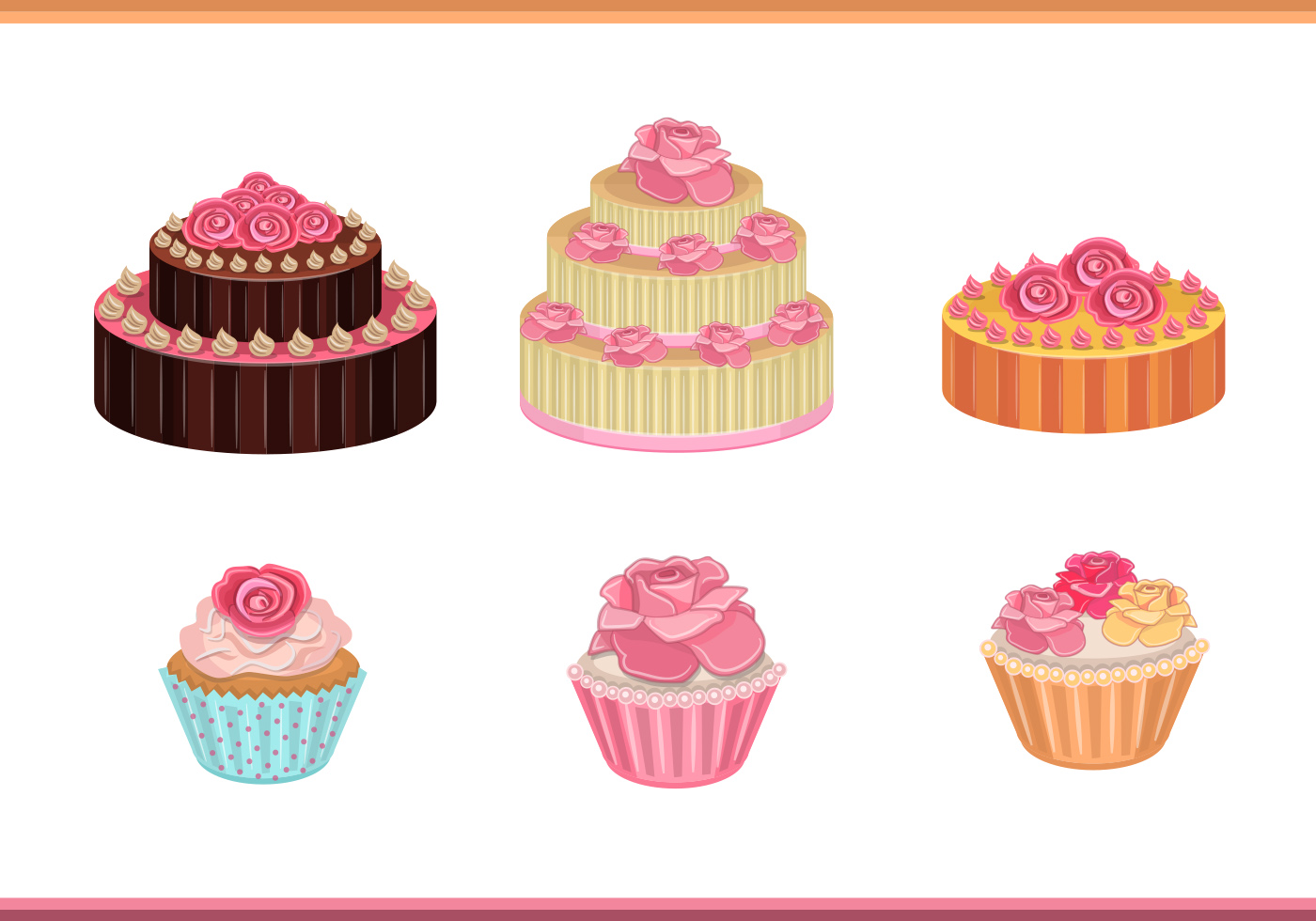 Cake With Roses Vectors Download Free Vector Art Stock