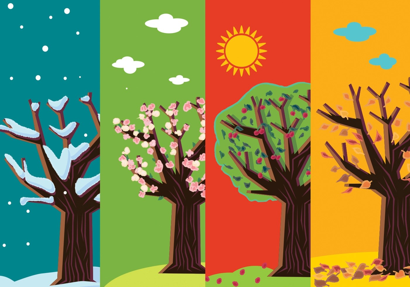 Four Seasons Abstract Trees