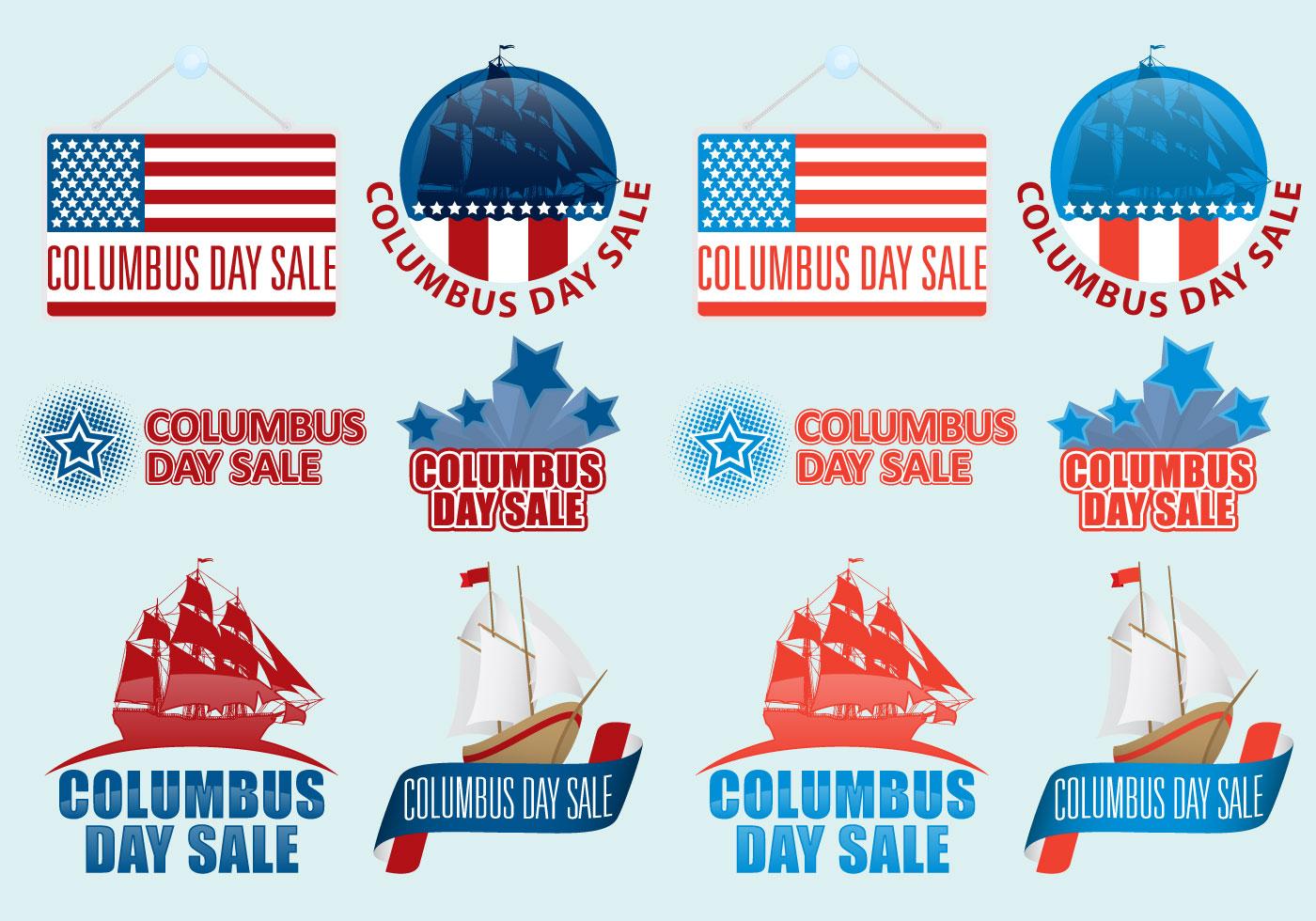 Columbus Day Sale Vectors