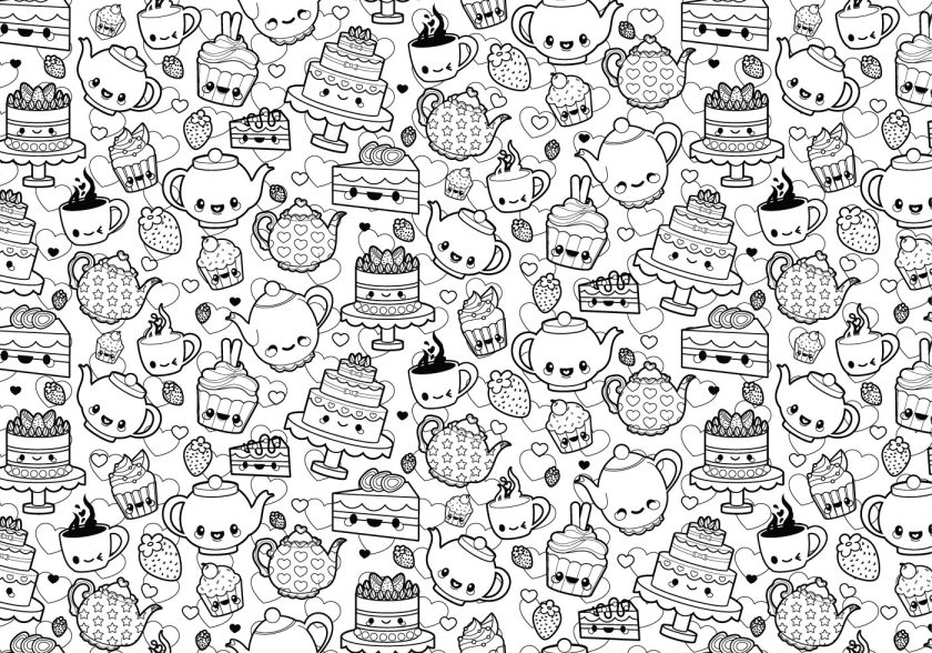 tea party coloring page  download free vectors clipart