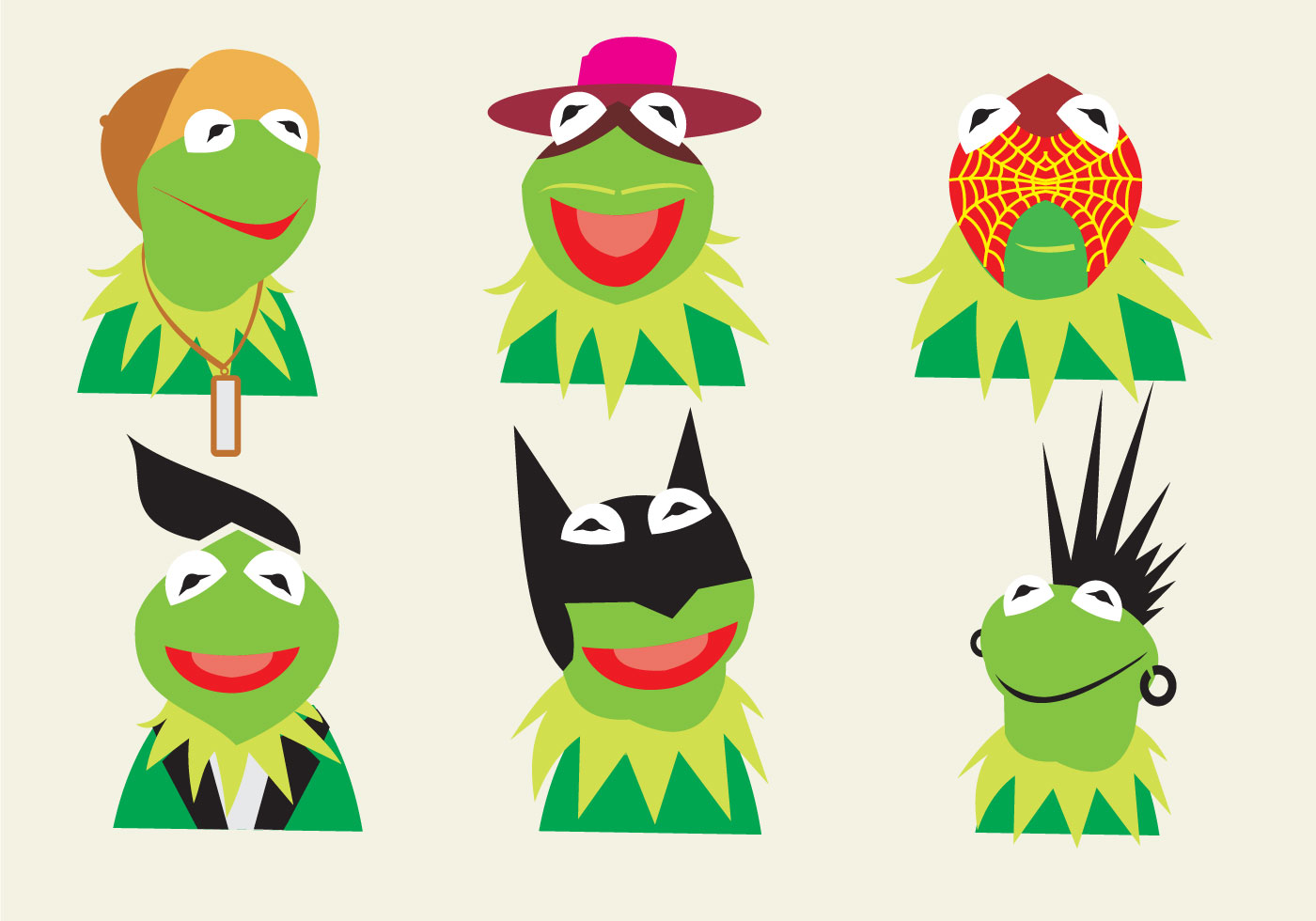 Various Characters Of Kermit The Frog