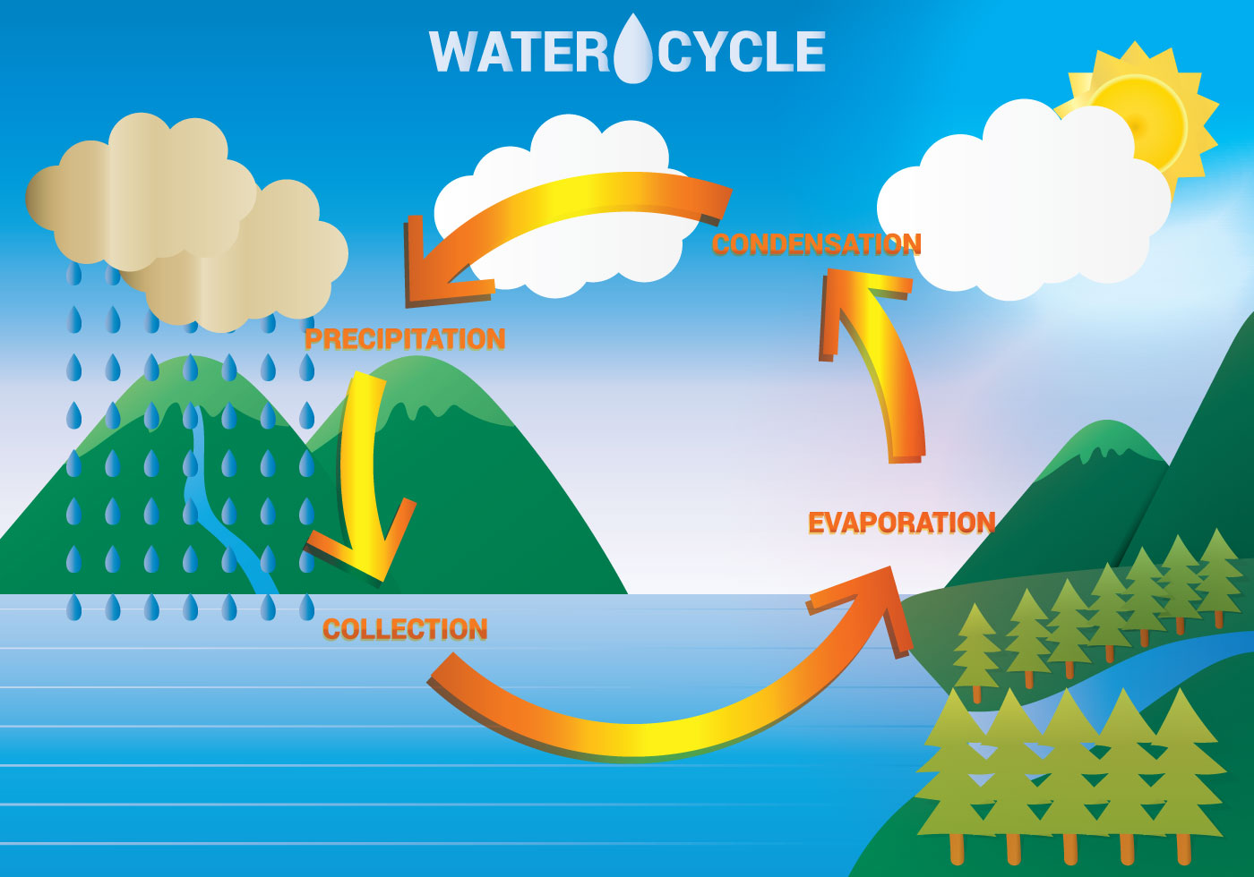Water Cycle Free Vector Art