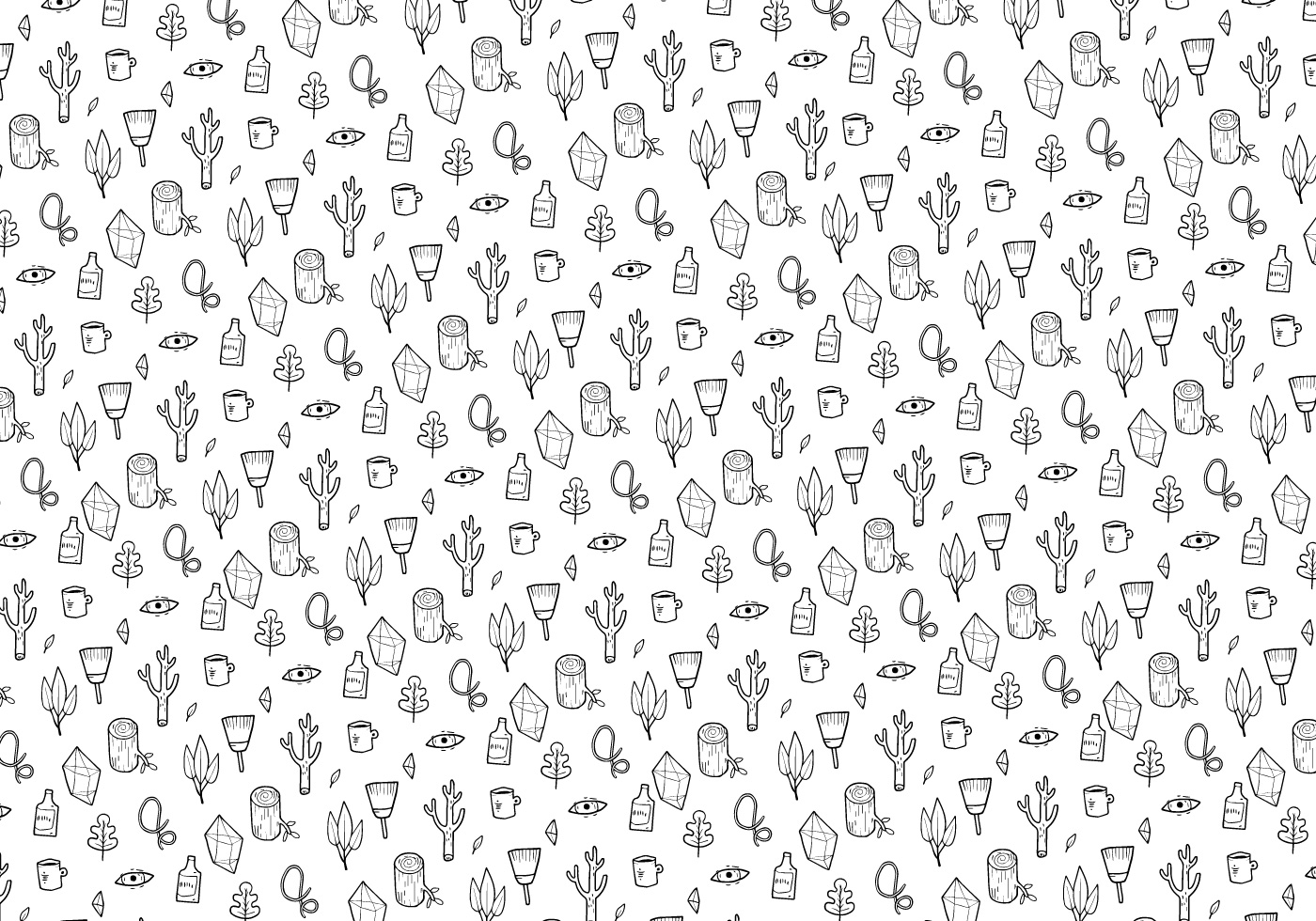 Plants And Gems Pattern Vector