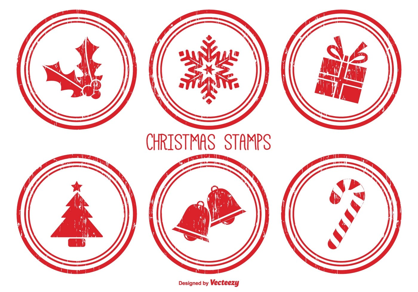 Distressed Christmas Stamps Download Free Vector Art