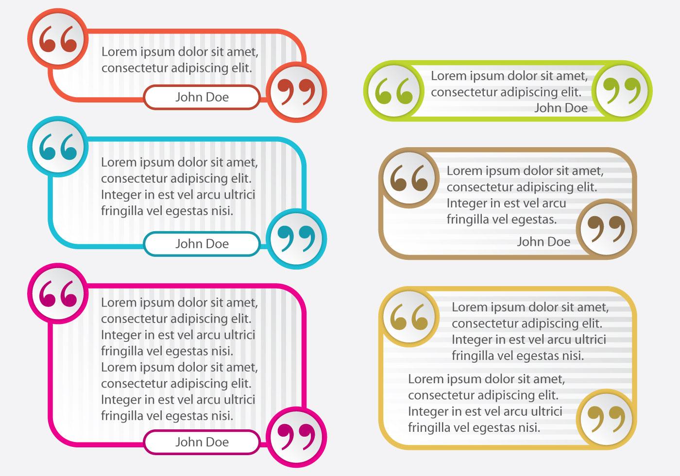 Colorful Quotation Mark Text Box Vectors