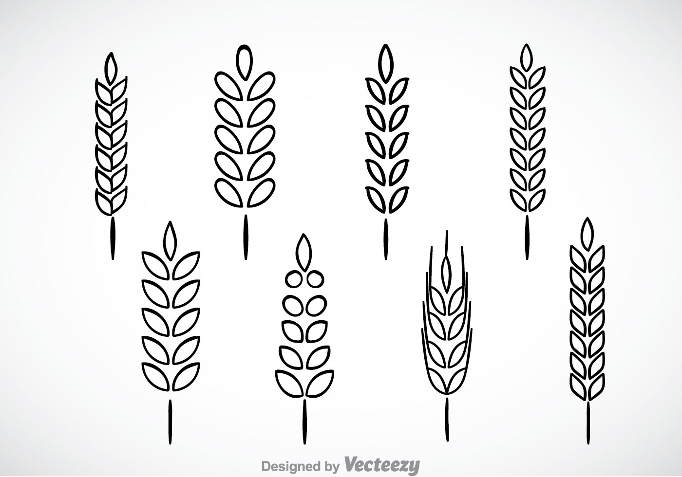 Wheat Stalk Black Outline Icons