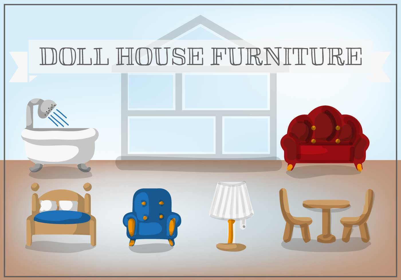 Free Doll House Furniture Vector Download Free Vector