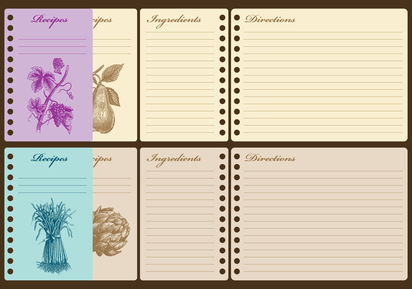 Vintage Recipe Cards Download Free Vector Art Stock