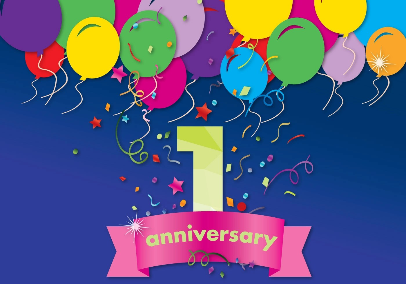 First Anniversary Vector Card Download Free Vector Art