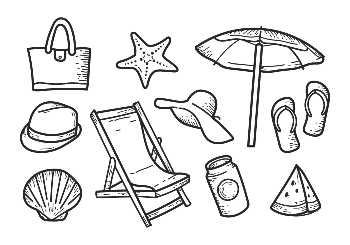 Free Beach Hand Drawn Icons