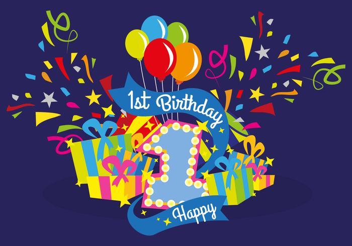 First Birthday Vector Illustration Download Free Vectors
