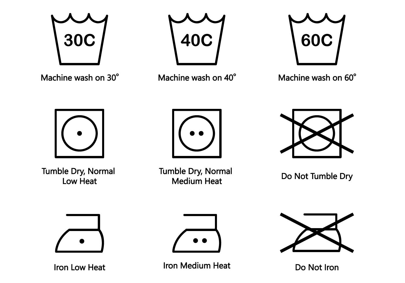 Washing Symbols Vector
