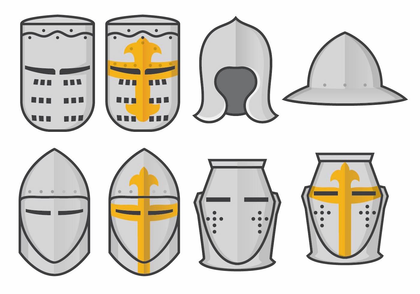 Templar Knight Helmet Vector Set