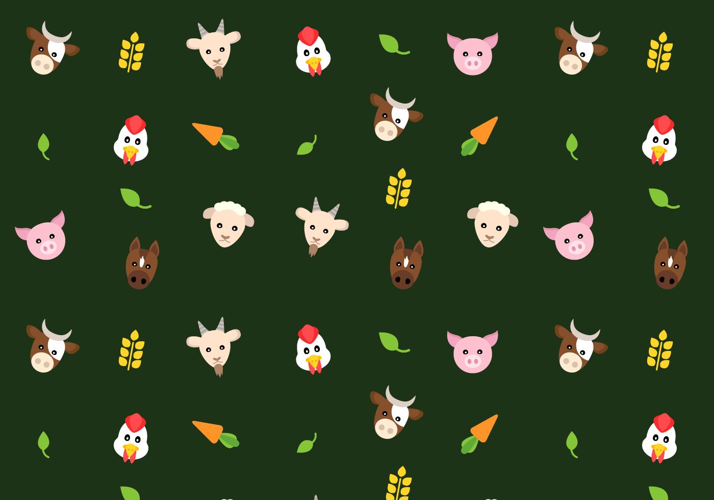 Farm Animals Pattern Vector