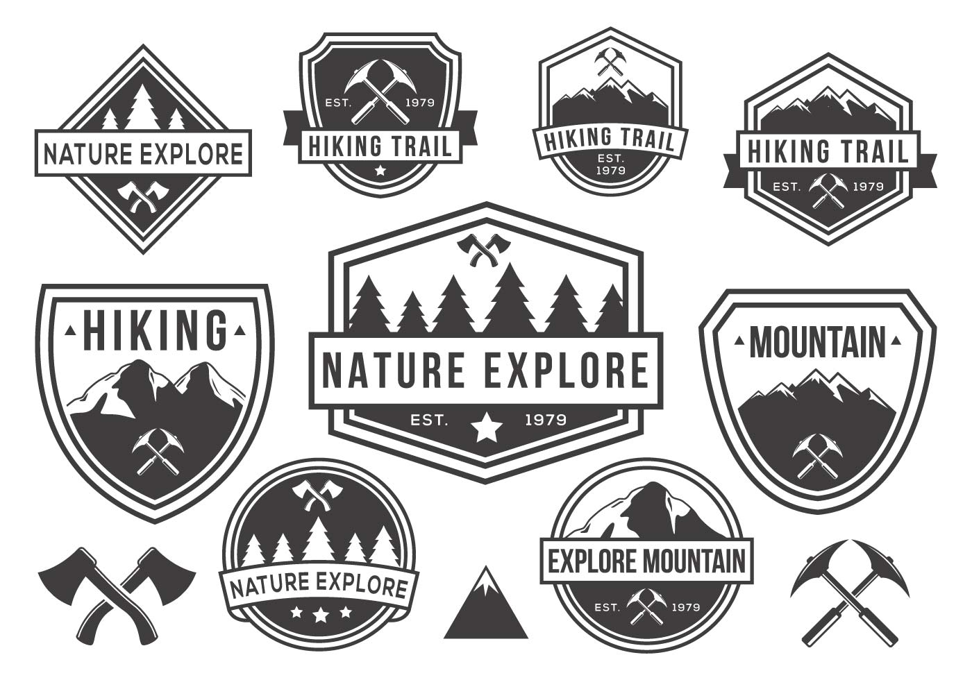 Mountain And Nature Badges Vector Black And White