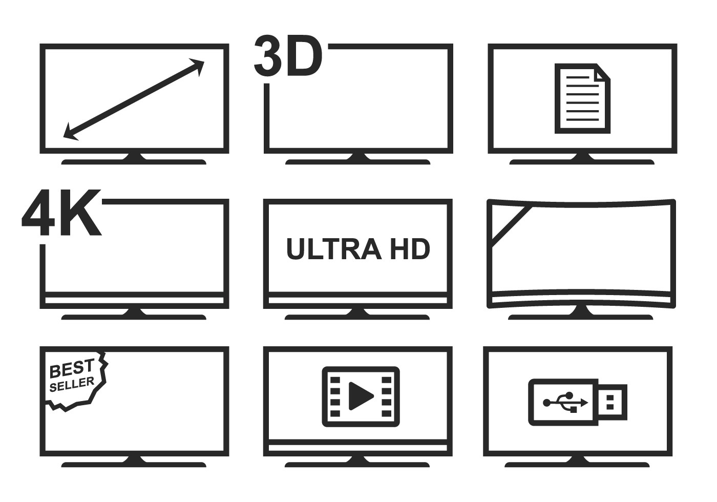 Free Led Tv Icon Set