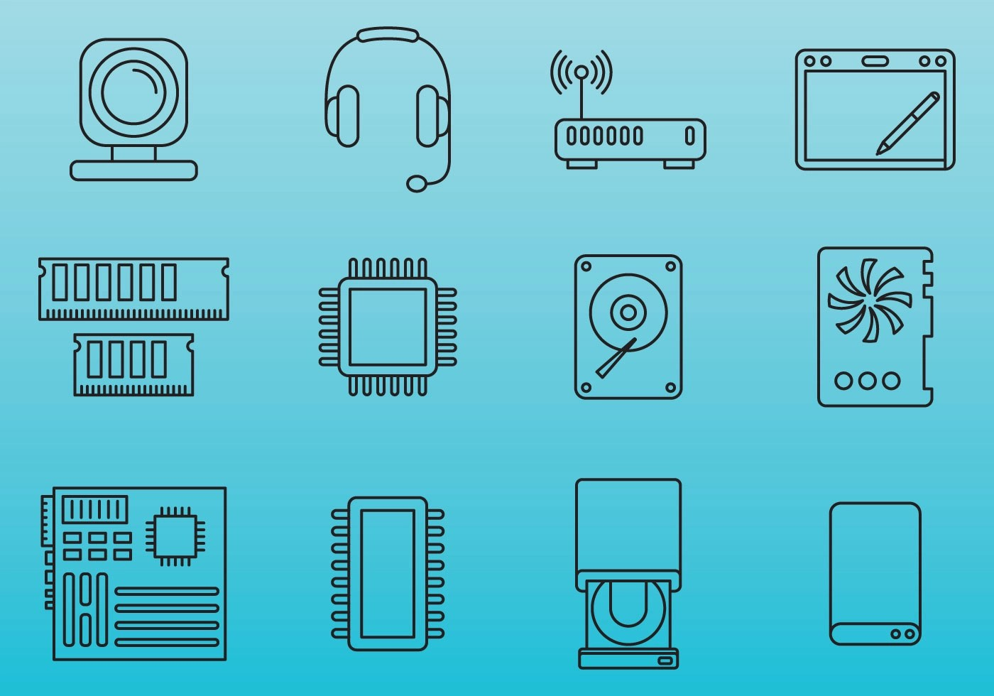 Computer Parts Icons Download Free Vector Art Stock