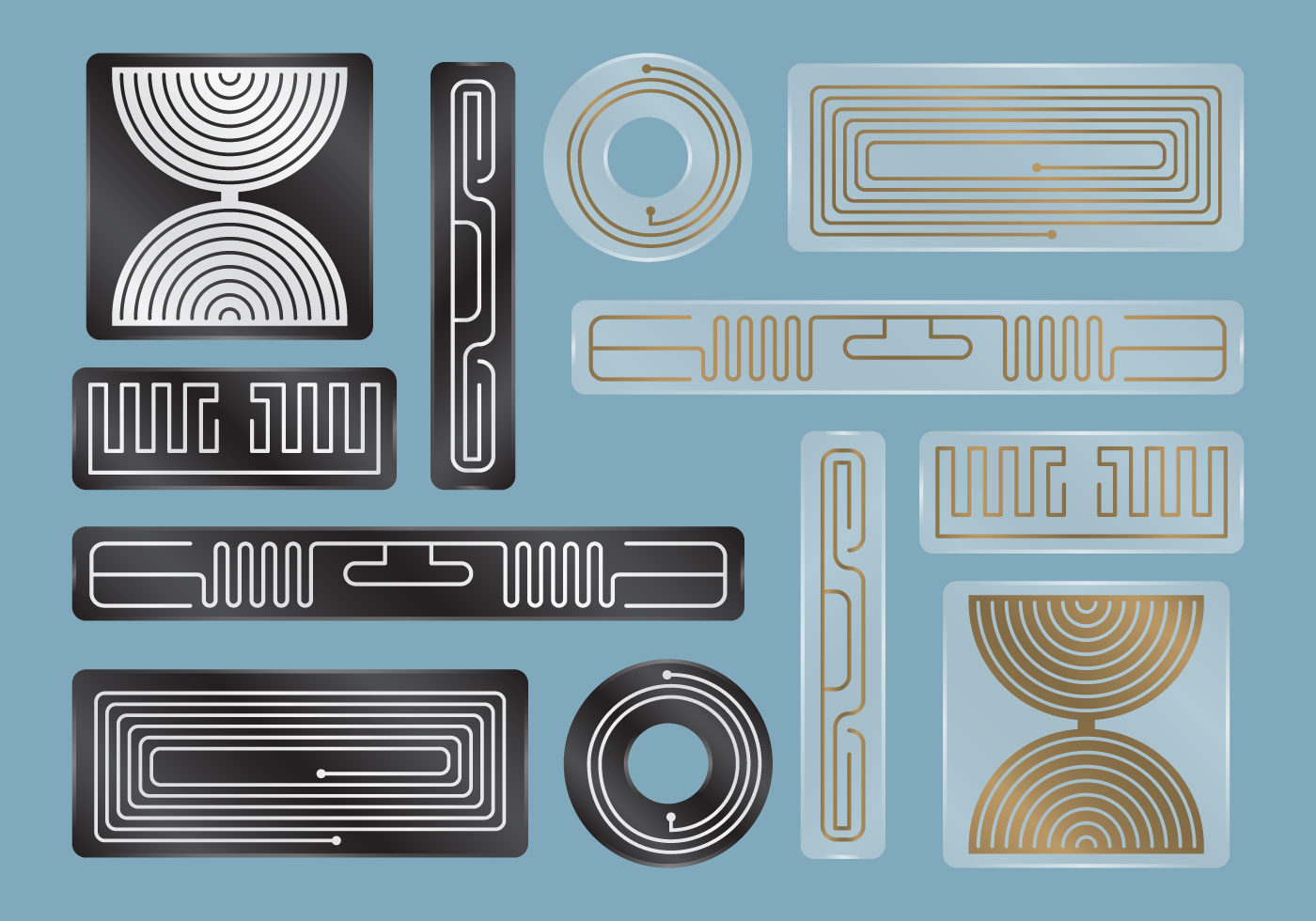 Black And Transparent Rfid Labels Download Free Vector