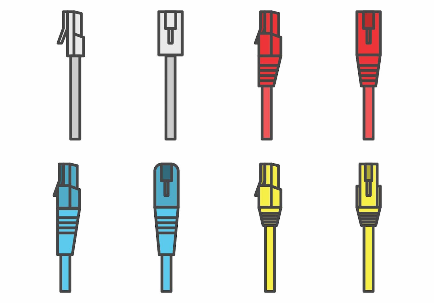 Flat Rj45 Connector Set