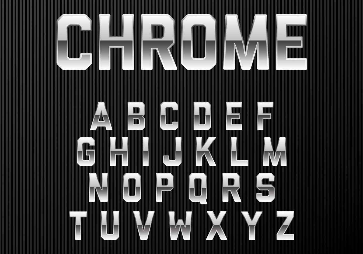 Chrome Alphabet Font Download Free Vector Art Stock