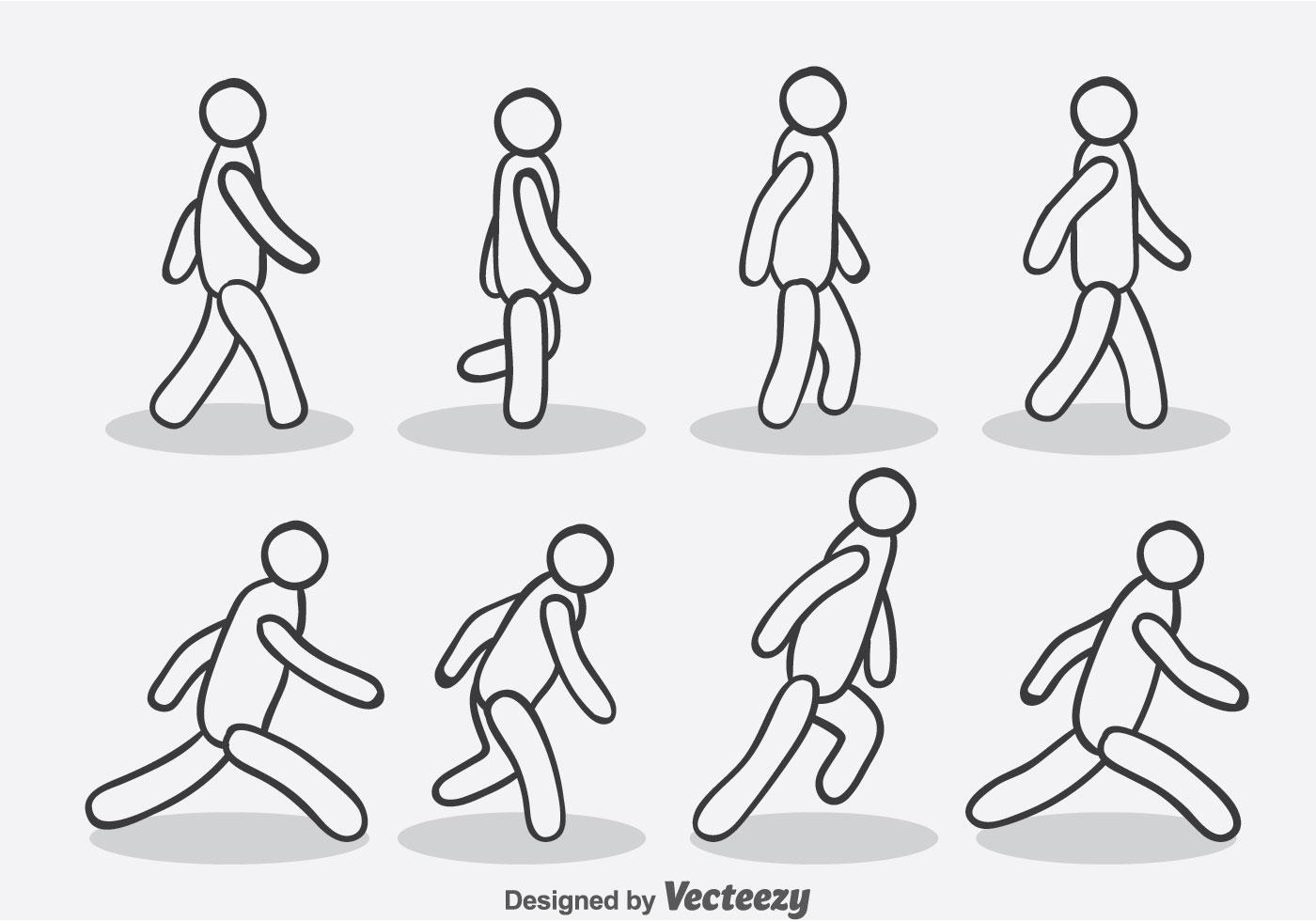 Stick Man Walking Free Vector Art