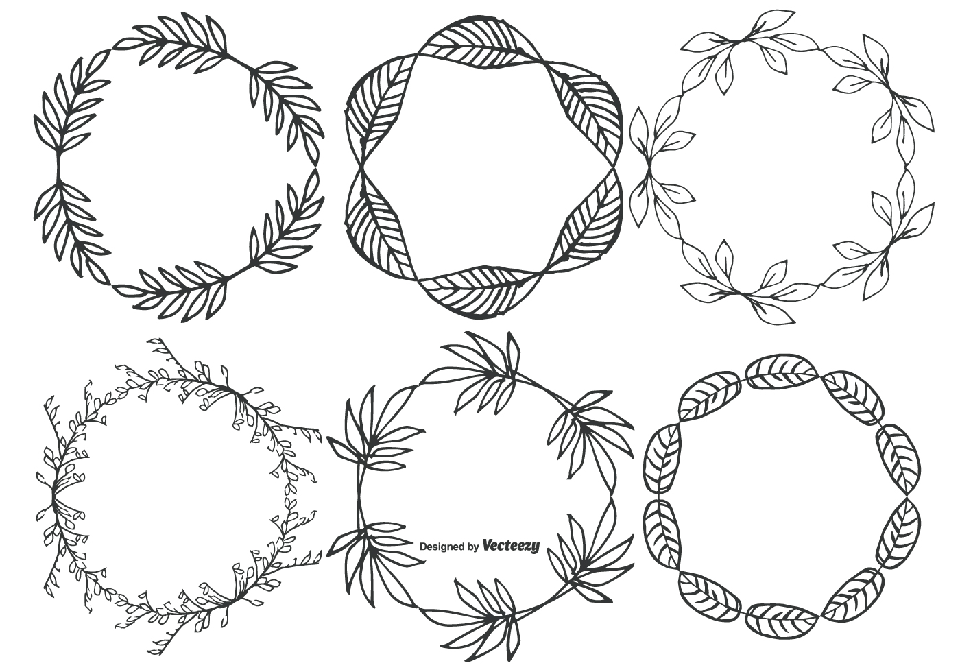 Cute Hand Drawn Sketchy Leaf Frames