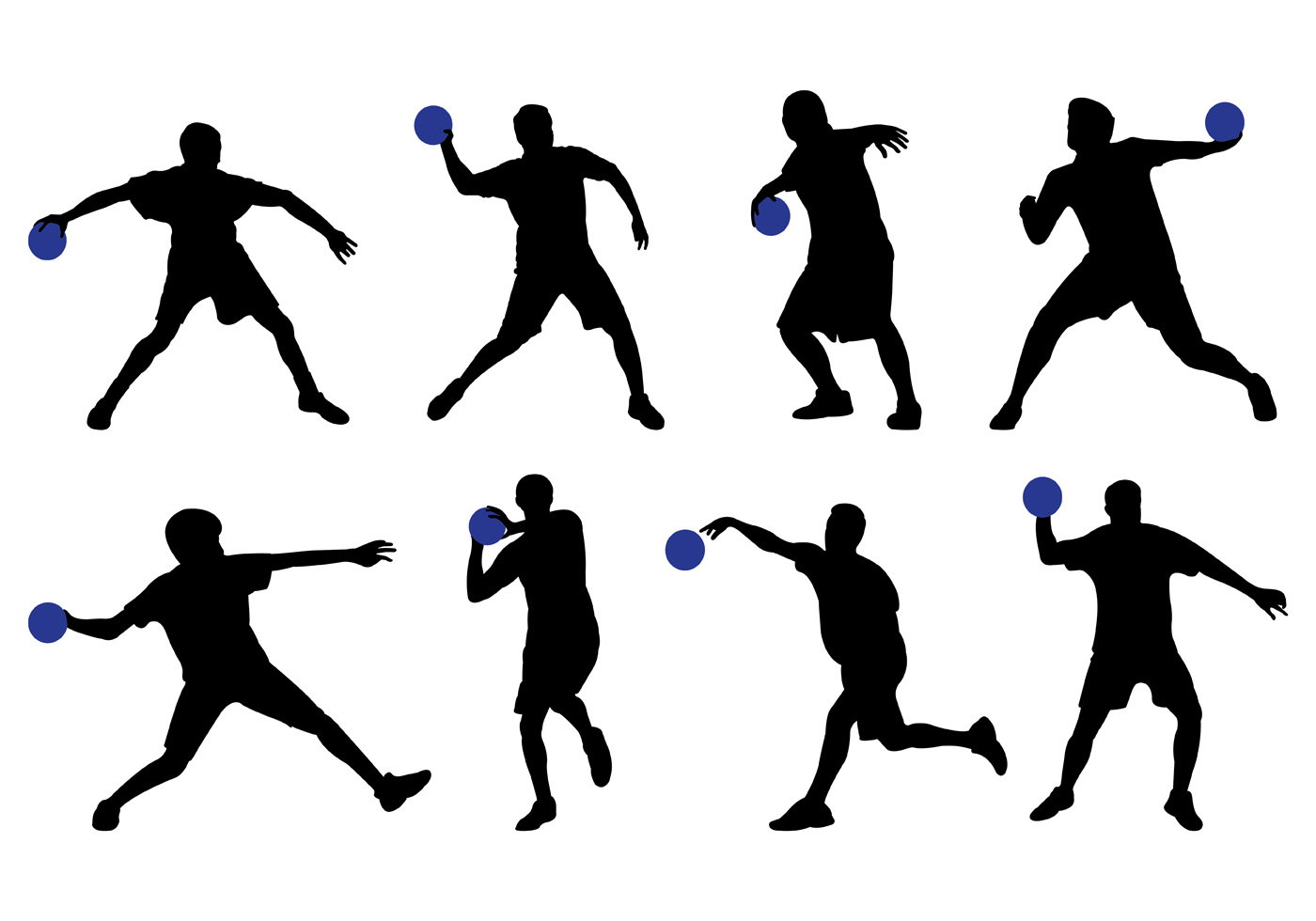 Silhouette Of Dodge Ball Player Vector