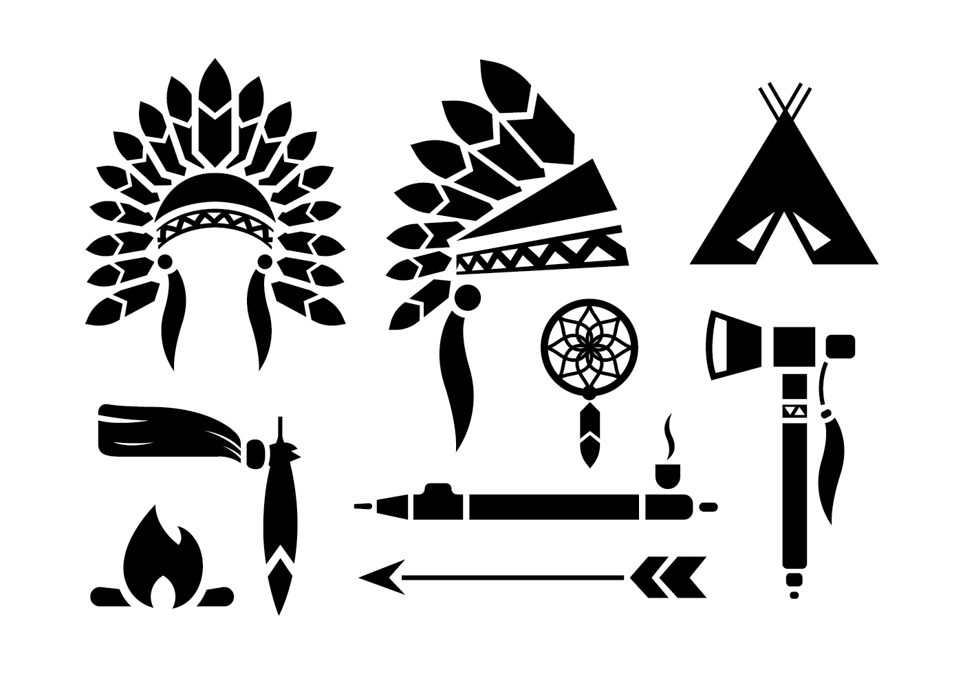 Indian Headdress Vector Set