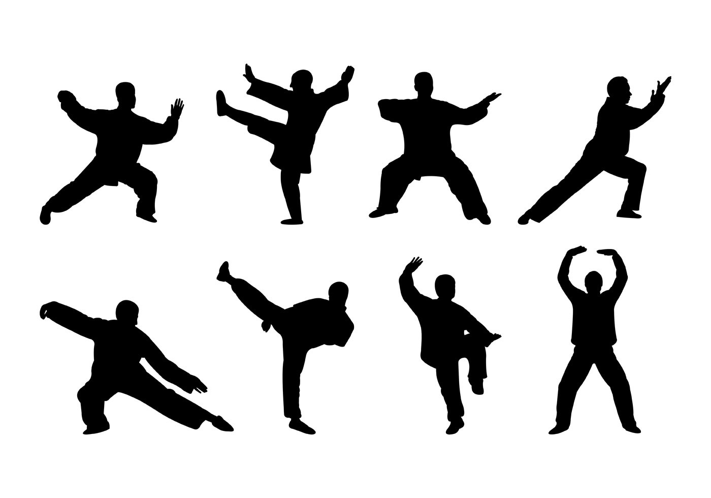 Vector Of Tai Chi Silhouettes
