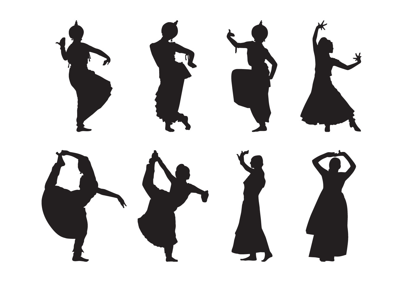 Free Indian Dance Silhouette Vector