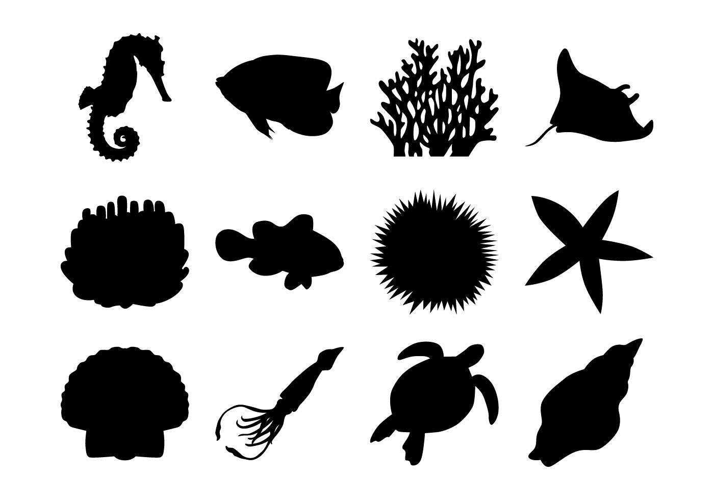 Sea Life Silhouettes Vector