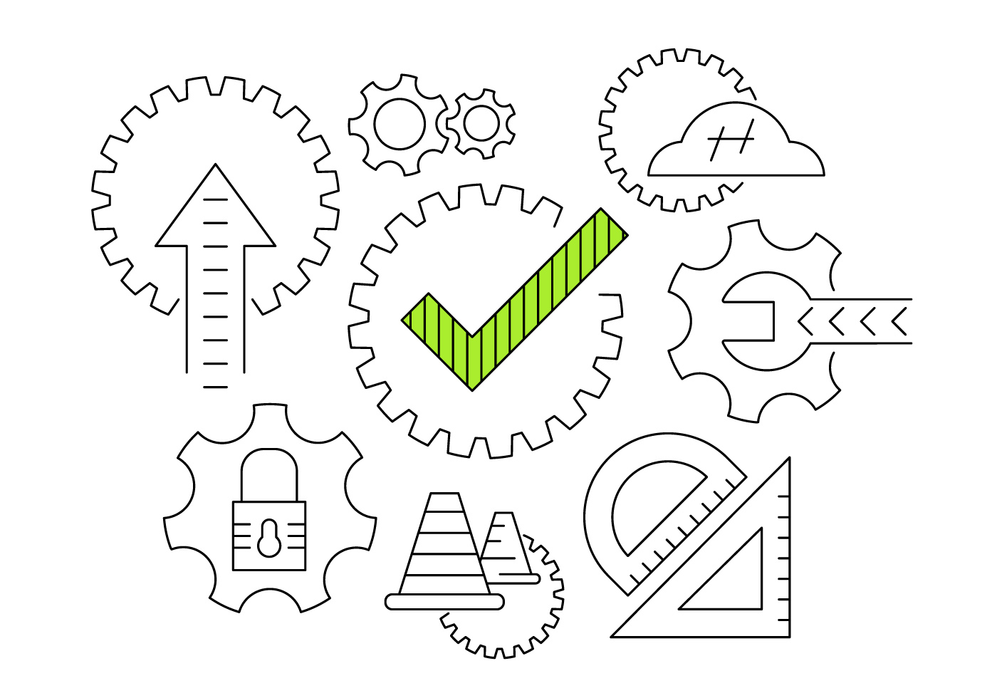 Working Gear Vector Icons