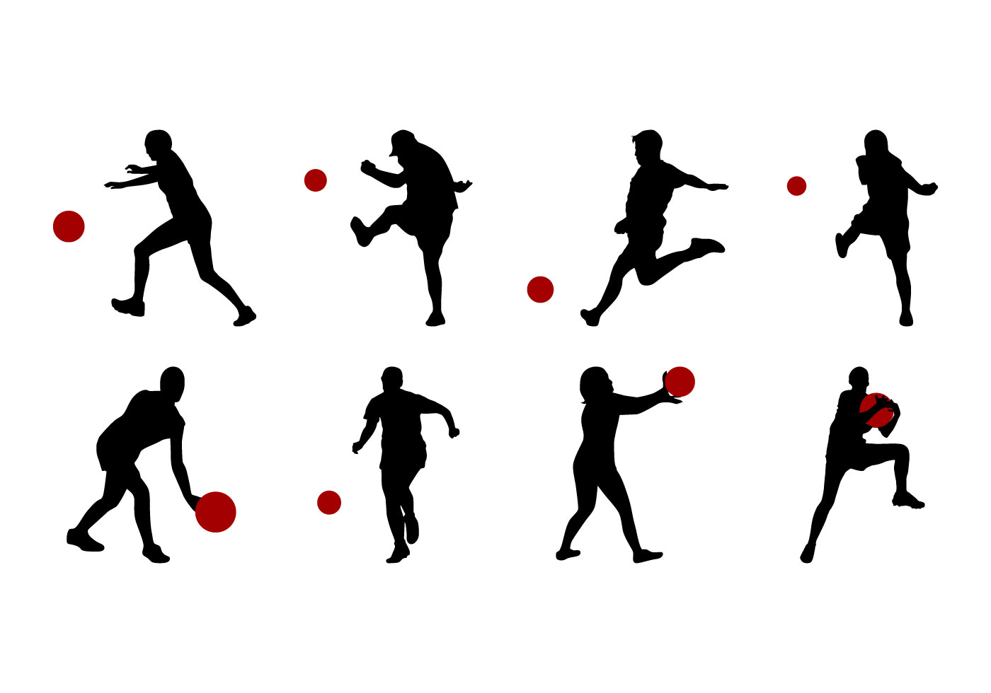 Free Kickball Silhouettes Vector