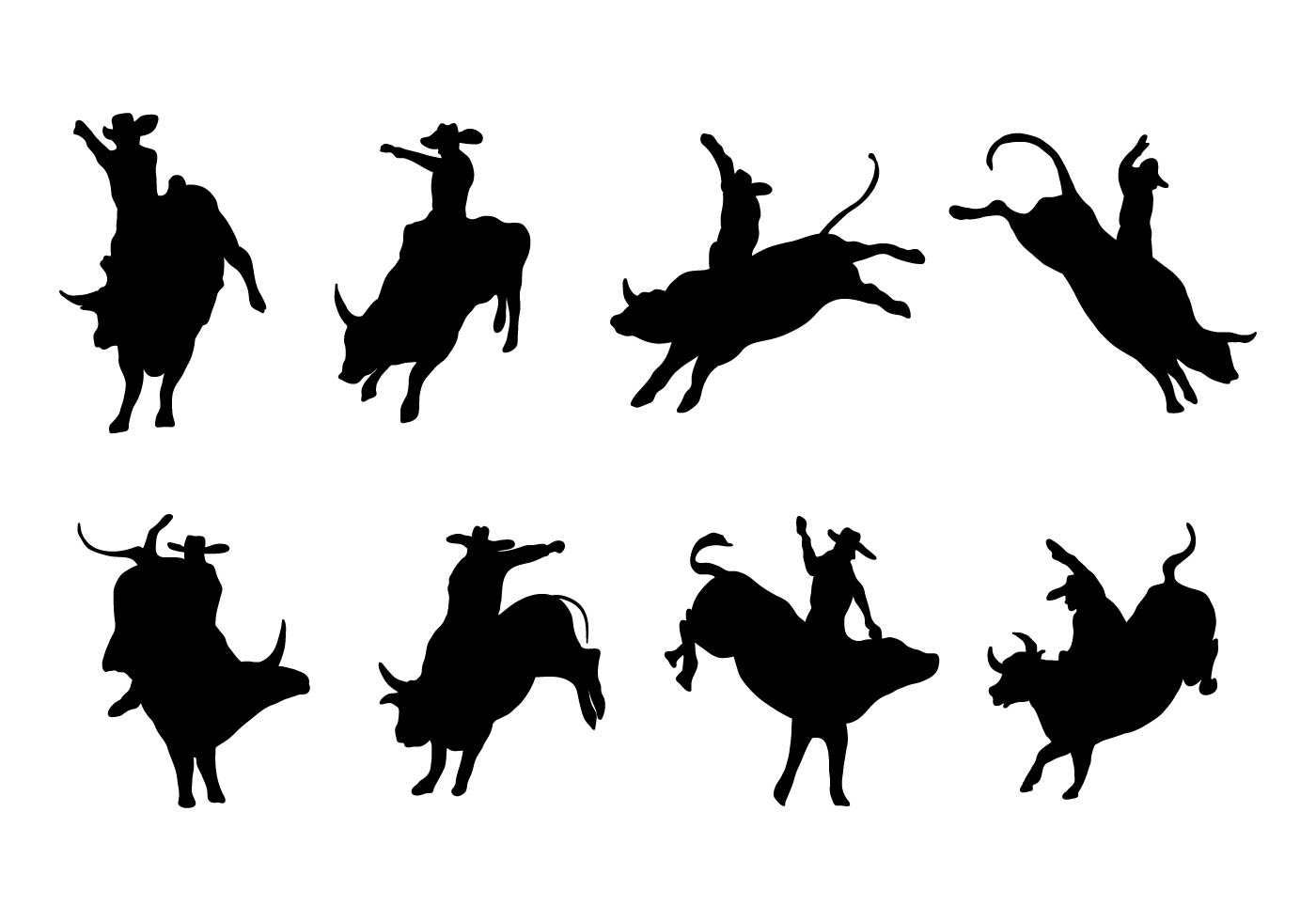 Free Silhouette Bull Rider Vector