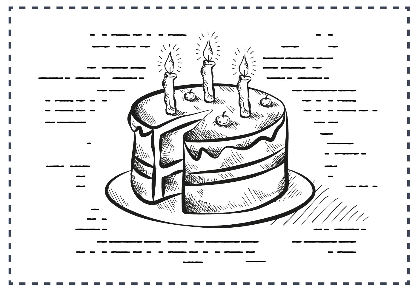Free Vintage Hand Drawn Birthday Cake Background