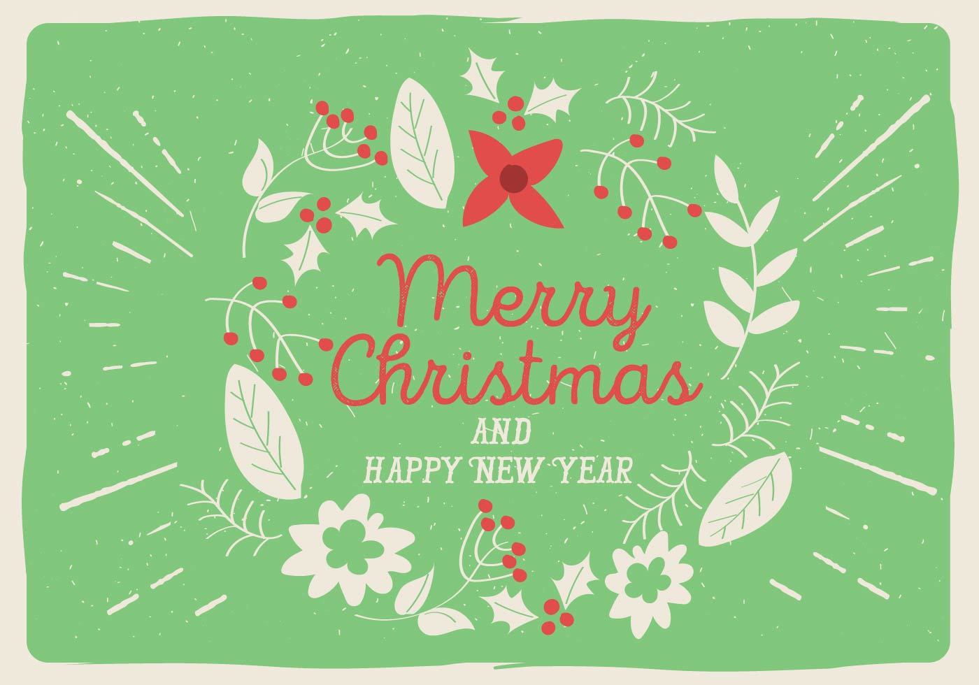 Free Vector Christmas Floral Greeting Card