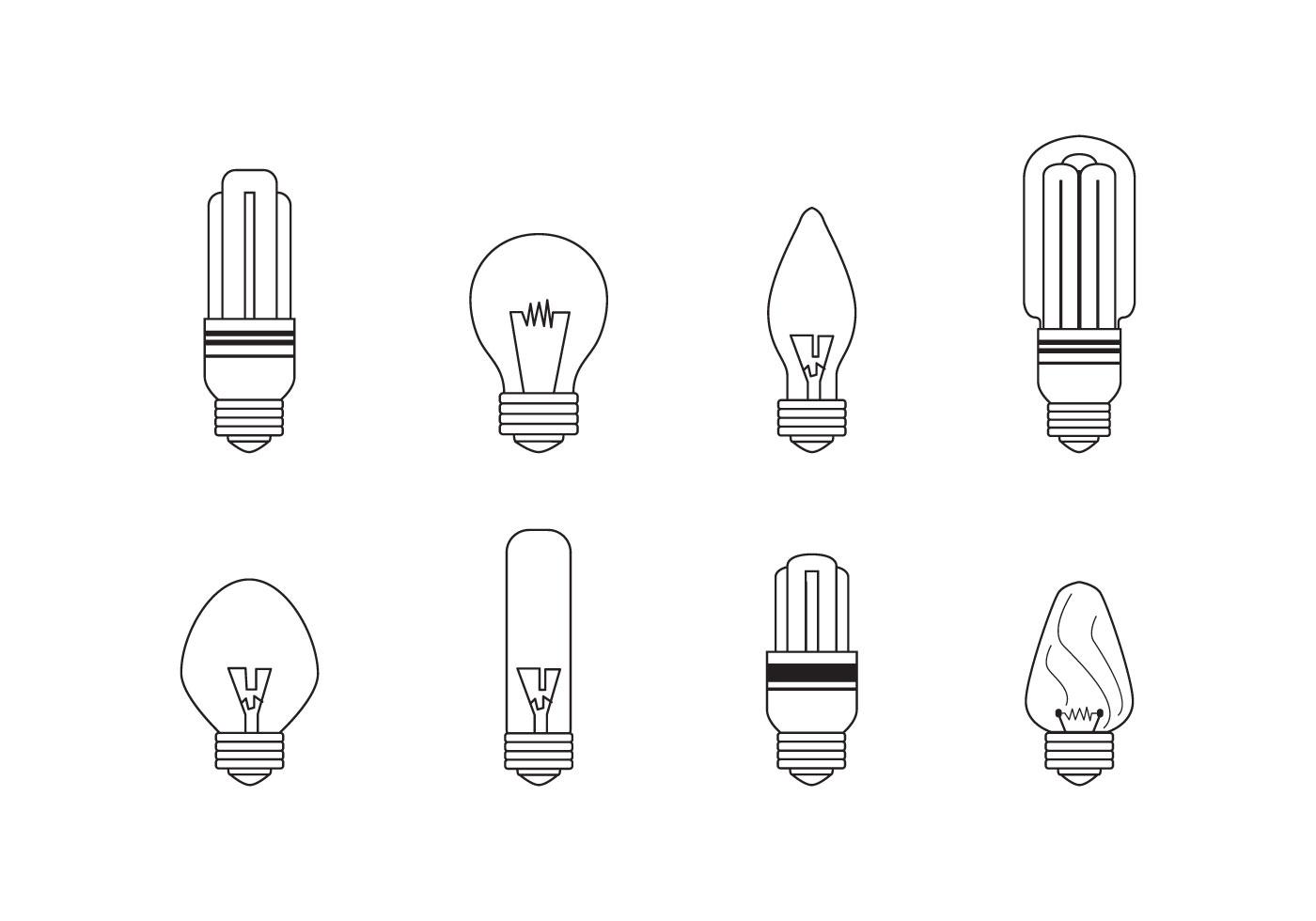 Linear Ampoule Light Bulb Icons