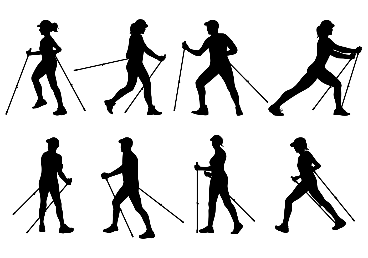 Nordic Walking Silhouettes Vector