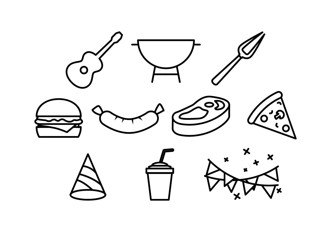 Bbq And Block Party Line Icon Element Vectors