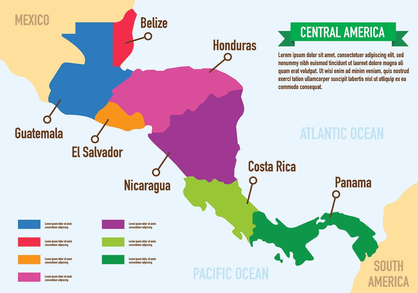 Central America Map Infographic