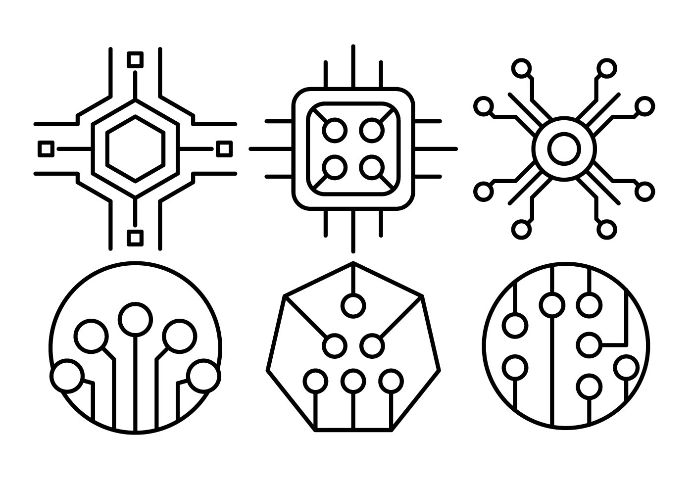 Linear Computer Chip Icons