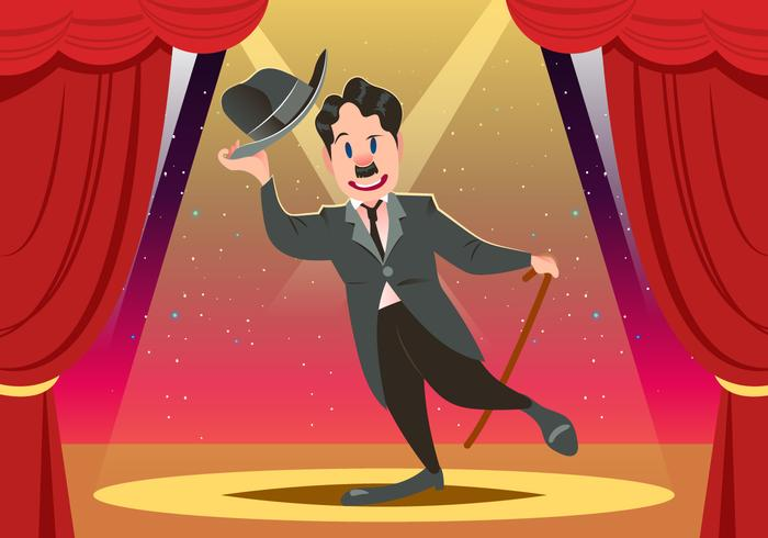 Charlie Chaplin On Stage Vector Download Free Vector Art