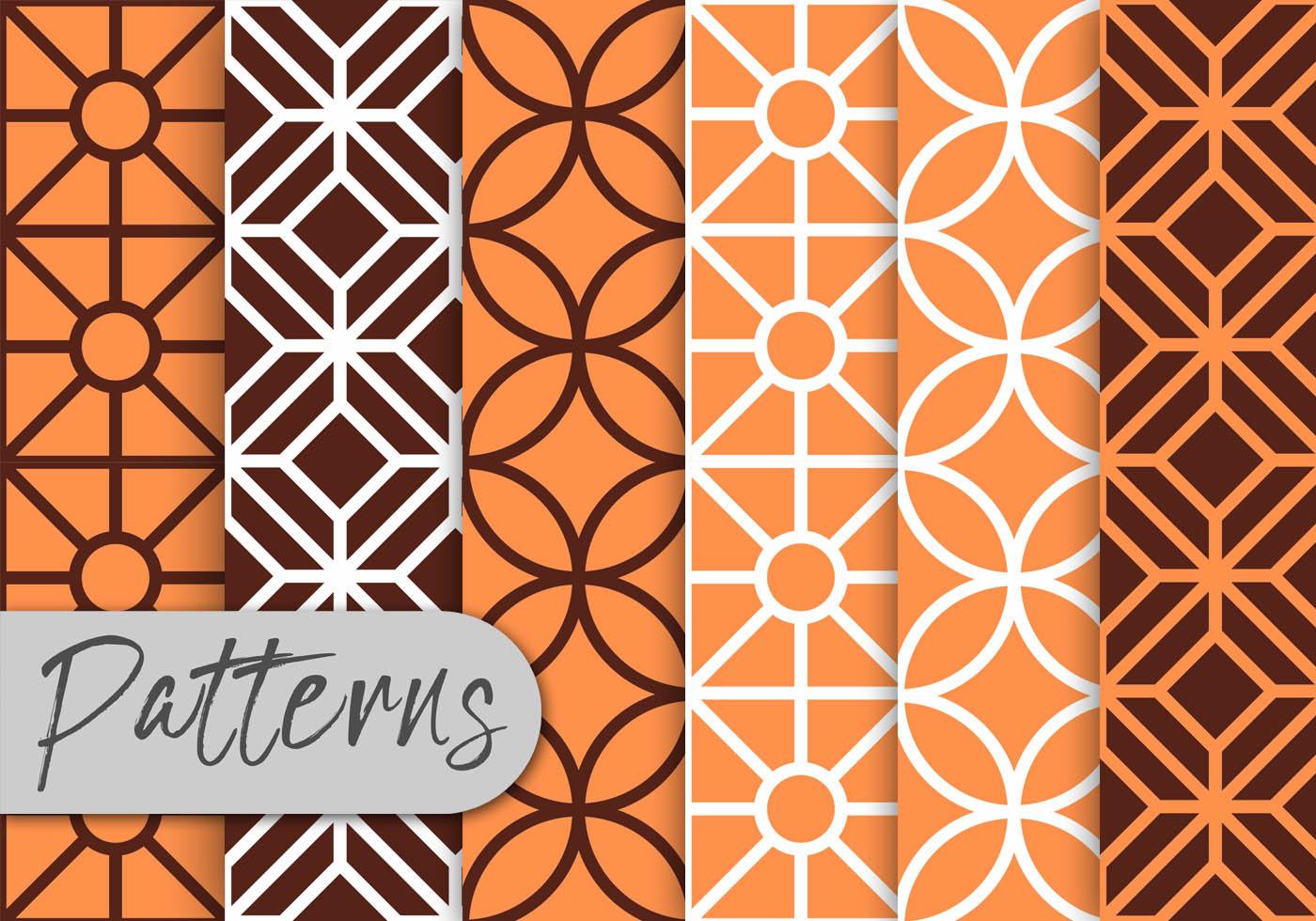 Orange Line Art Pattern Set