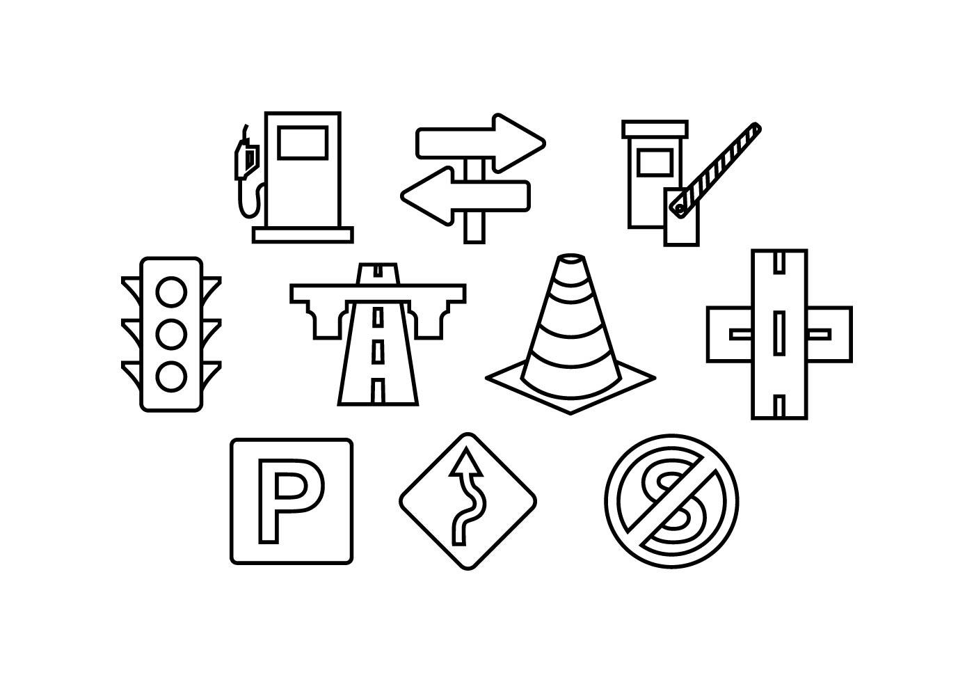 Road Traffic Line Icon Vector