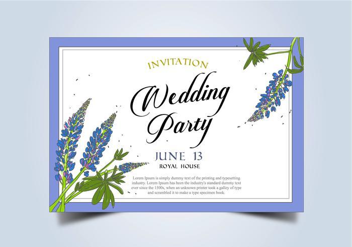 Bluebon Flower Frame Wedding Invitation Template Vector